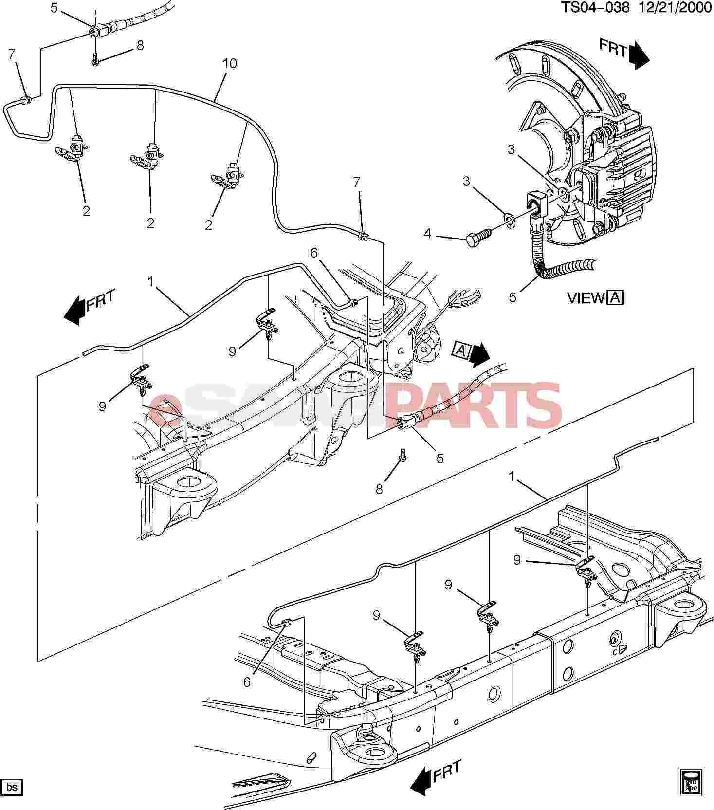 Drum brake assembly diagram esaabparts saab 9 7x brakes parts brake lines brake of drum brake
