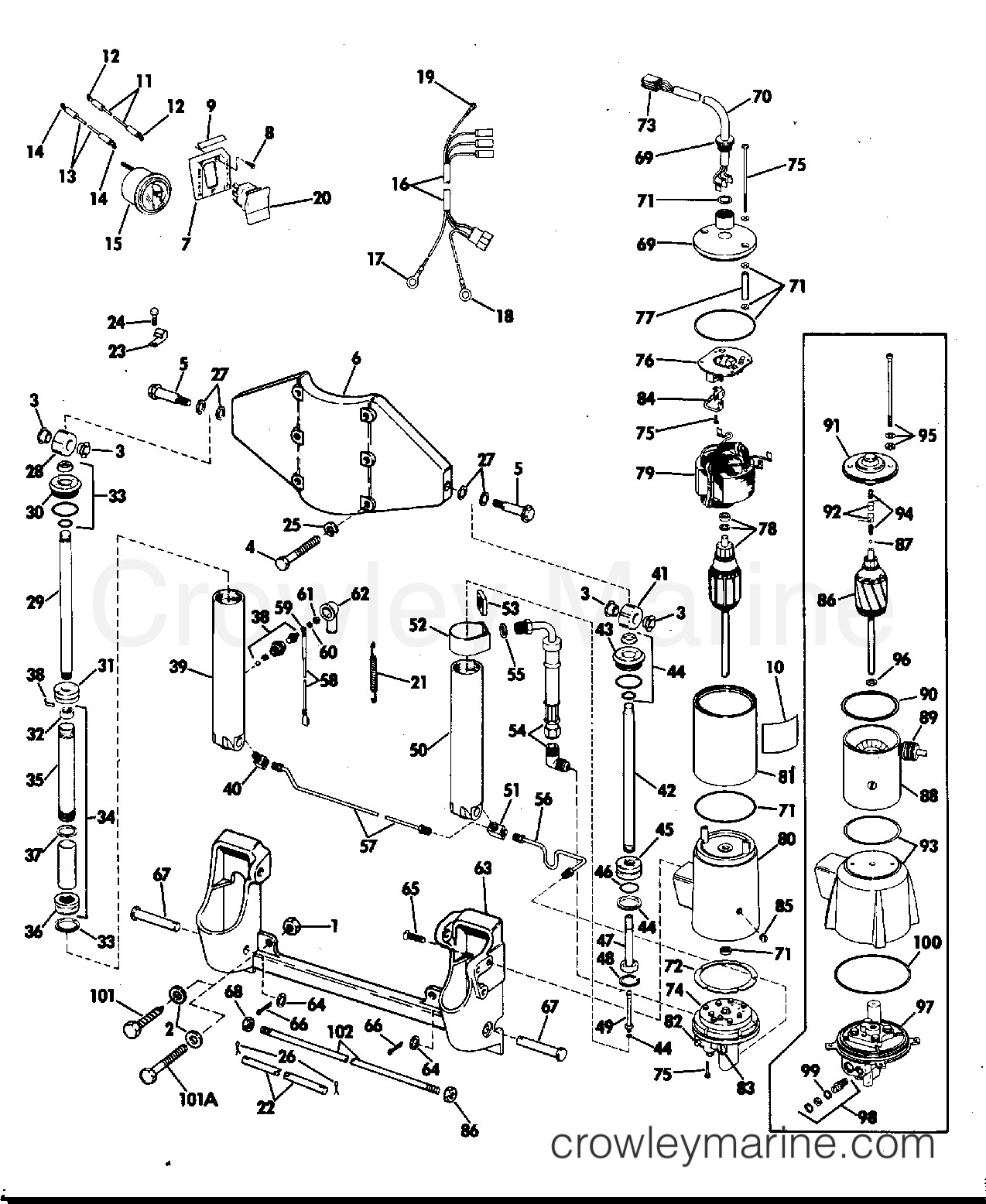 Evinrude outboard parts diagram power tilt and trim 50 hp 1974 rigging parts accessories of evinrude