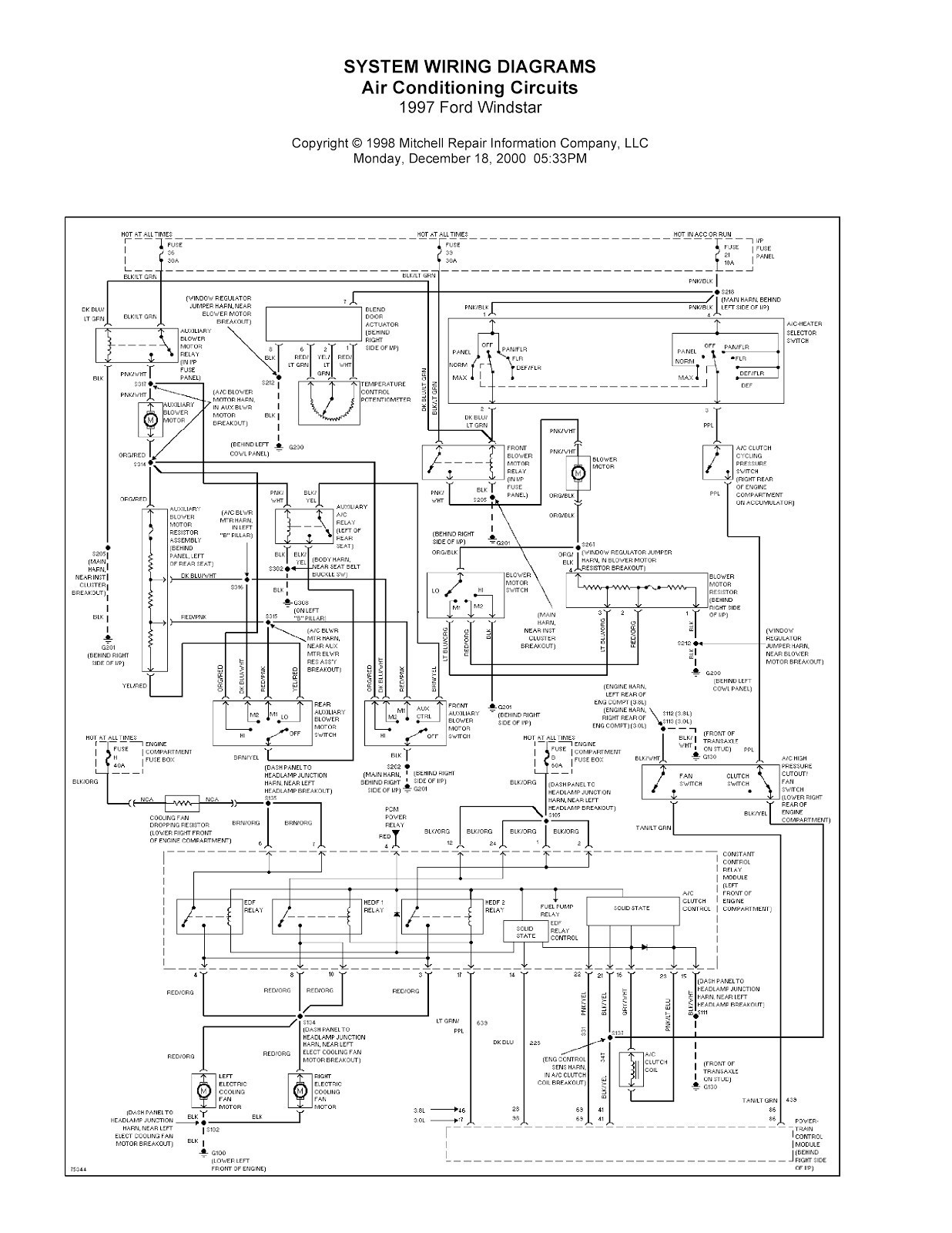 Ford Windstar Power Window Wiring Diagram