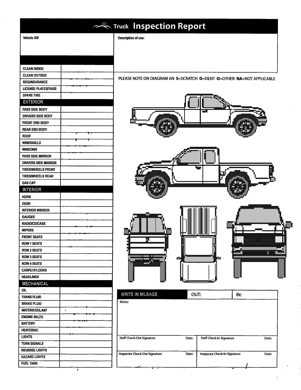 Pickup Truck Inspection Diagram