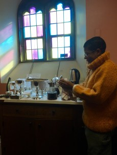 Sister Veronica Mary polishes silver