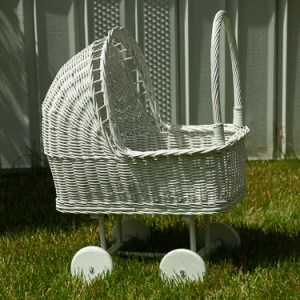 Child's White Wicker Doll Carriage