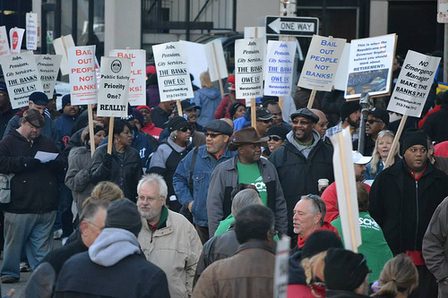 People took the streets in front of the federal courthouse in downtown Detroit during the first day of a bankruptcy trial. A photo by Pan-African News Wire File Photos on Flickr.