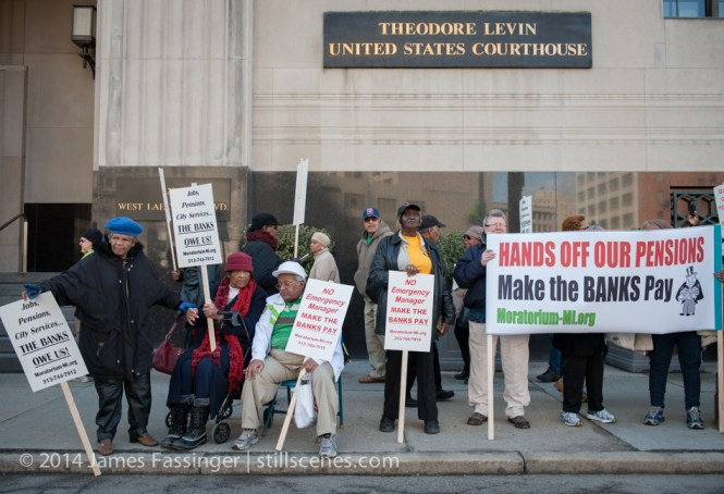 Detroit retirees, city workers, residents and concerned citizens protest outside federal courthouse against bankruptcy.