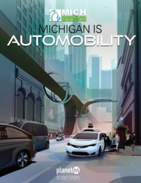 The cover of the Michigan is Automobility Report was created by student illustrator Tyler Osgood from College for Creative Studies.