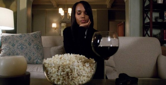Olivia Pope indulging in popcorn and wine