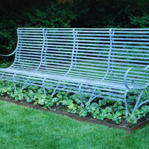 9 foot scroll steel bench