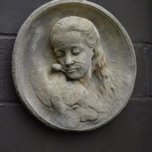 Cast Concrete Girl with Bird Plaque