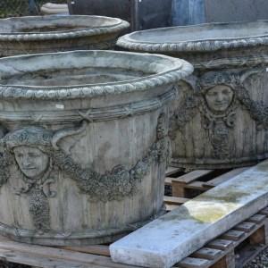 English Concrete Parisian Planter In Grey Patina