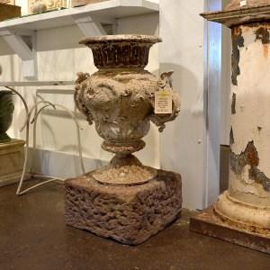 French Antique Iron Urn on Stone Base Main 1
