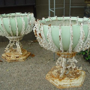 French Wrought Iron Urns With Tin Liners