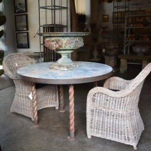 distressed zinc topped garden table with antique twisted cast iron legs