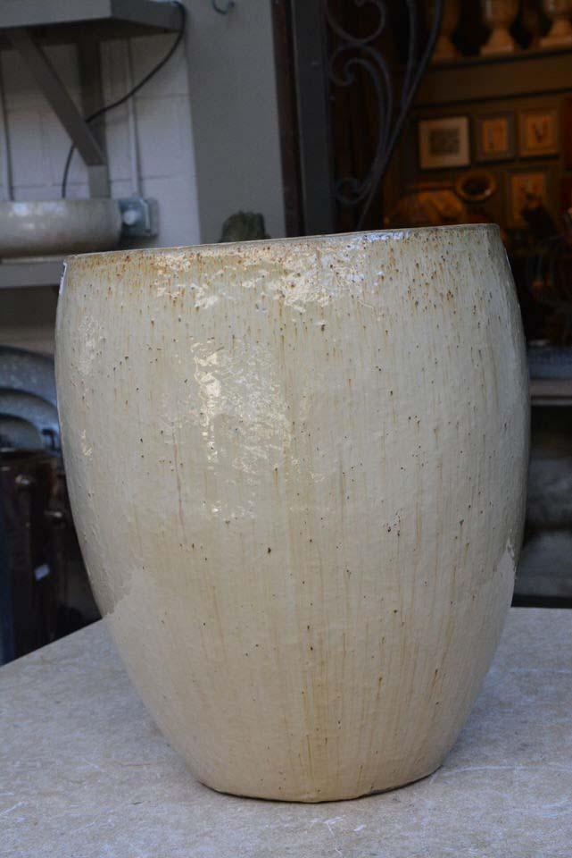Tall Garden Pots With Cream Glaze