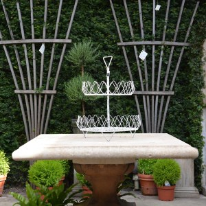 Two Tier Wire Basket White 4