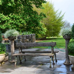 antique English bench and stone pots
