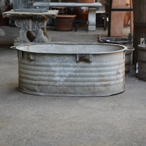 Stacked Ridges Galvanized Bin