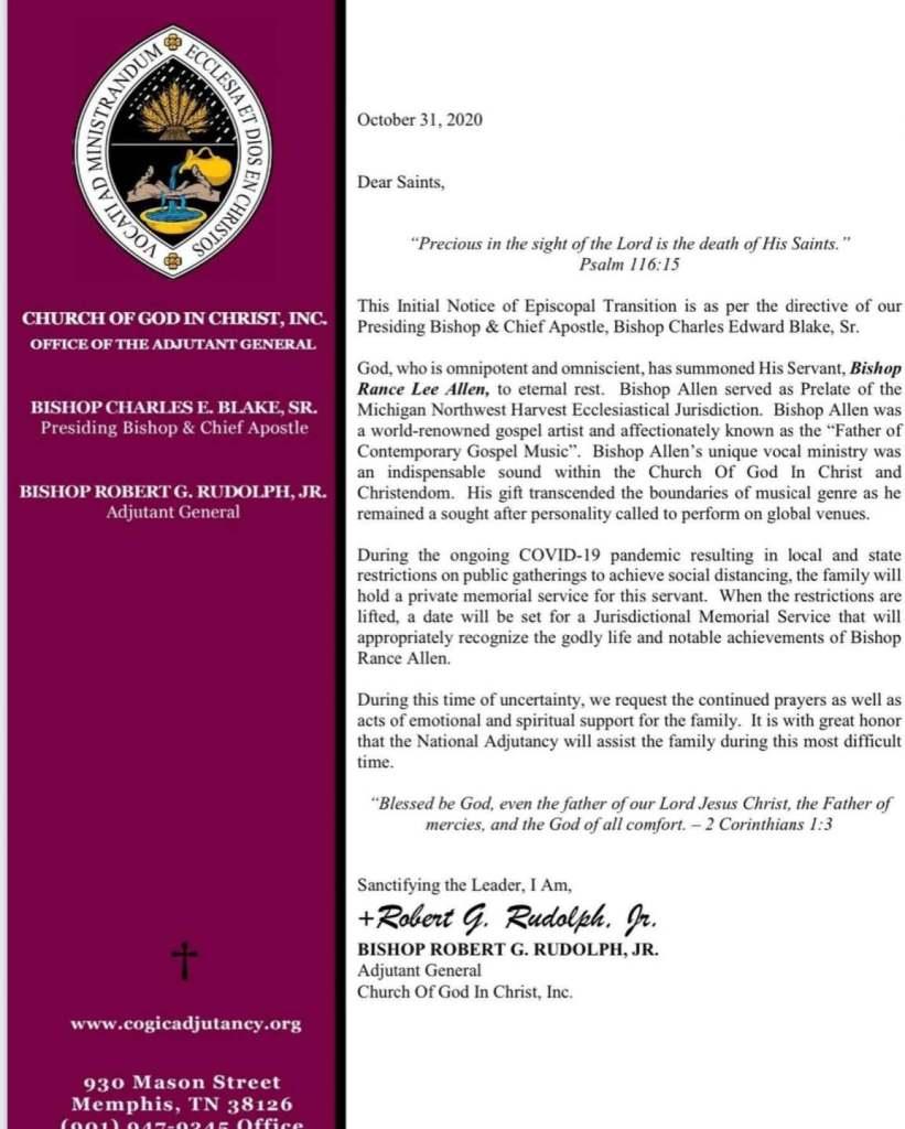Rance Allen Press Release