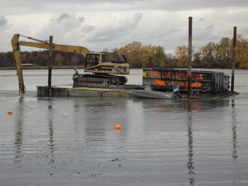 Dredging in the Blue Heron LAGOON Lagoon on Belle Isle
