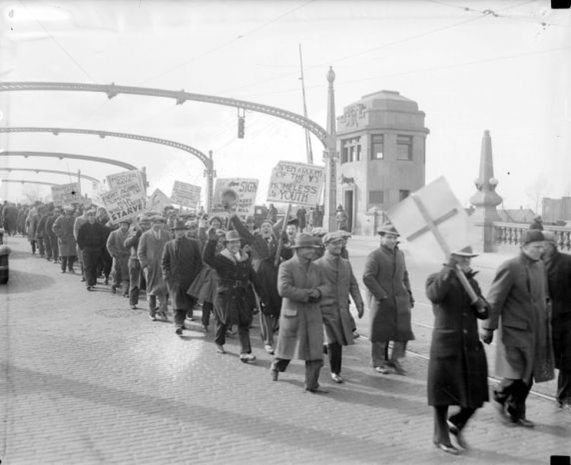 1932 Hunger March over the Detroit River, courtesy Walter P. Reuther Library