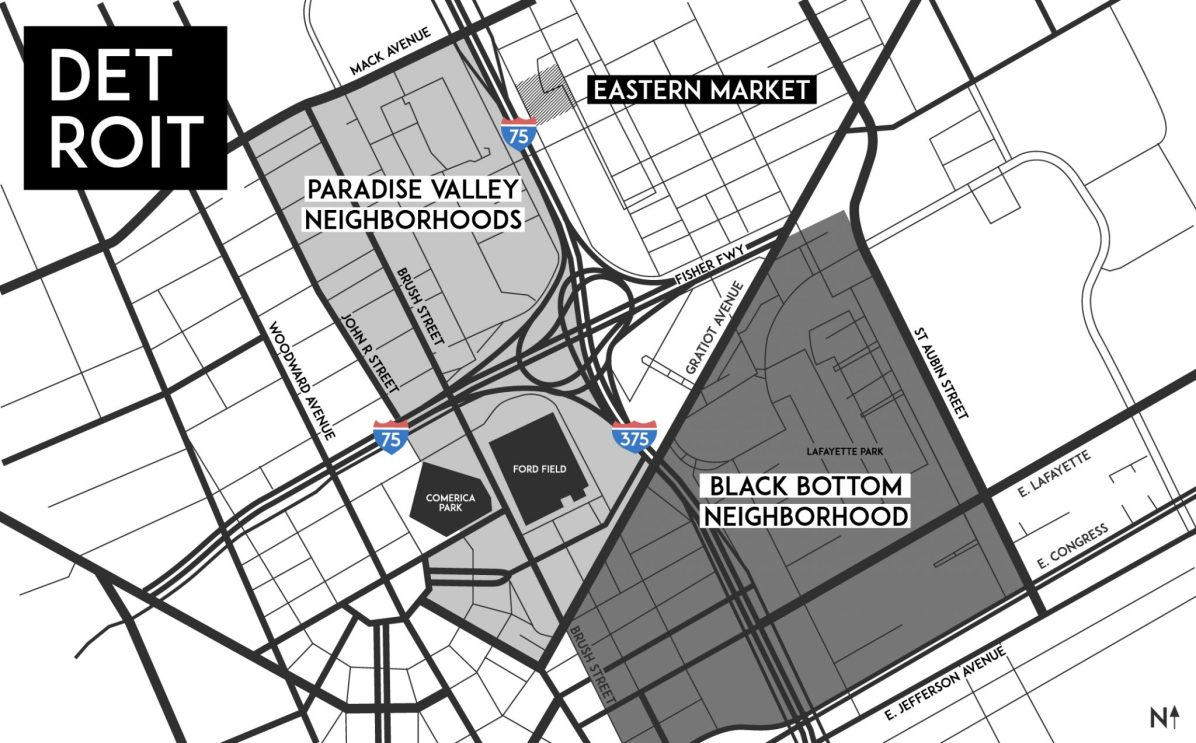 Black Bottom and Paradise Valley Map