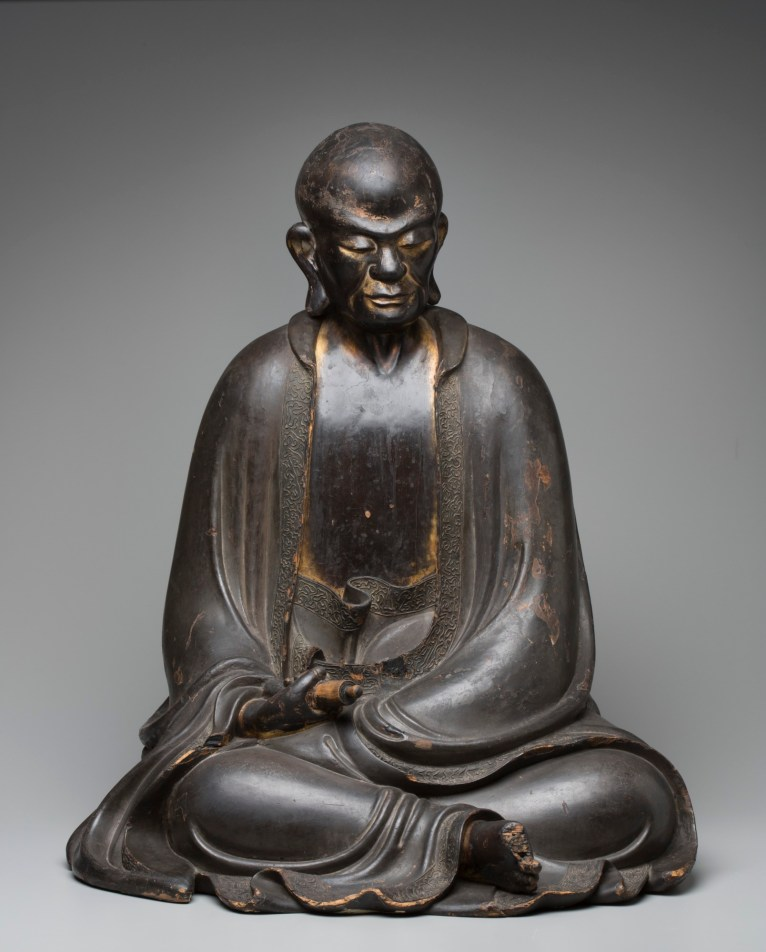 """Rakan,"" 1688–95, Shoun Genkei, Wood, lacquer, gold. Detroit Institute of Arts"
