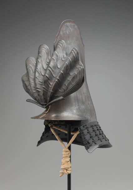 """Samurai Helmet,"" 1600s, Unknown artist, Wood, lacquer, metal, fiber. Detroit Institute of Arts"