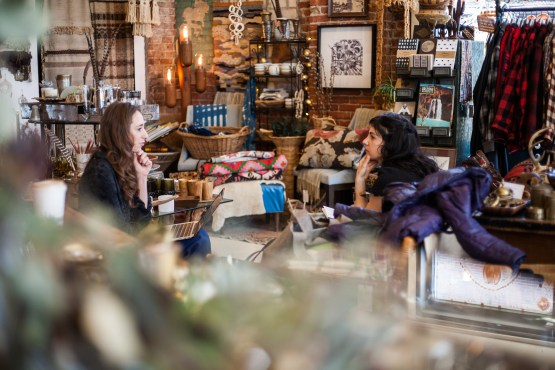 Erin and CVh talk in Eldorado General Store. Photo Stephanie Hume.