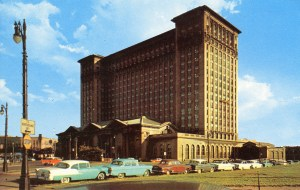 A postcard depicting Michigan Central Station, circa 1955. At its peak, trains bustled in and out of the station and served approximately 4,000 customers per day. Photo Detroit Historical Society