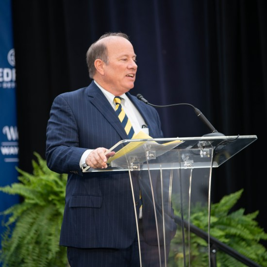 MAYOR MIKE DUGGAN SPEAKS AT AN EVENT IN DETROIT. PHOTO AMI NICOLE / ACRONYM