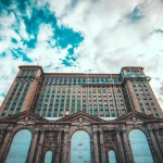 Looking up at Mcihgian Central Station from the front // MICHIGAN CENTRAL STATION PHOTO AMI NICOLE / ACRONYM