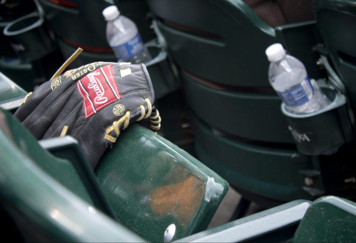 AL KALINE LONE BASEBALL GLOVE AT COMERICA. PHOTO AMY NICOLE / ACRONYM