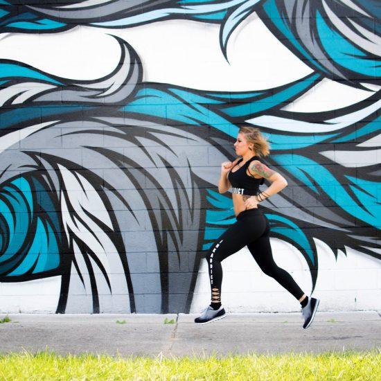 JESSICA ANN WORKOUTS WEARING INKADDICT, RUNNING BY MALT ARTWORK. PHOTO AMI NICOLE / ACRONYM