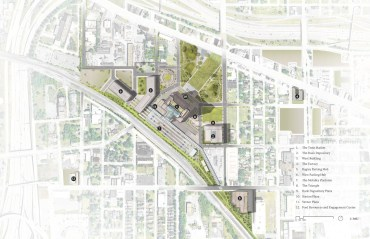MICHIGAN CENTRAL SITE PLAN – COURTESY OF PRACTICE FOR ARCHITECTURE AND URBANISM (PAU)