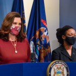 Whitmer Speaking in a mask // 2022 Michigan budget photo // GOV. WHITMER DURING A COVID-19 UPDATE. PHOTO OFFICE OF THE GOVERNOR