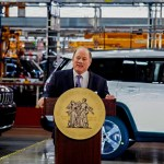 MAYOR DUGGAN DELIVERING HIS REMARKS FROM THE NEW STELLANTIS MACK AVENUE JEEP PLANT. PHOTO CITY OF DETROIT