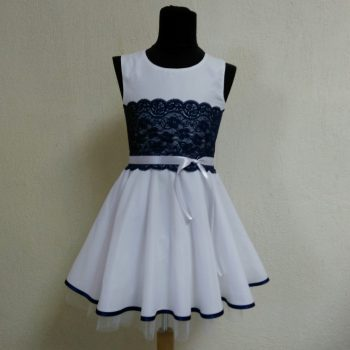 детска официална рокля фантазия синя дантела