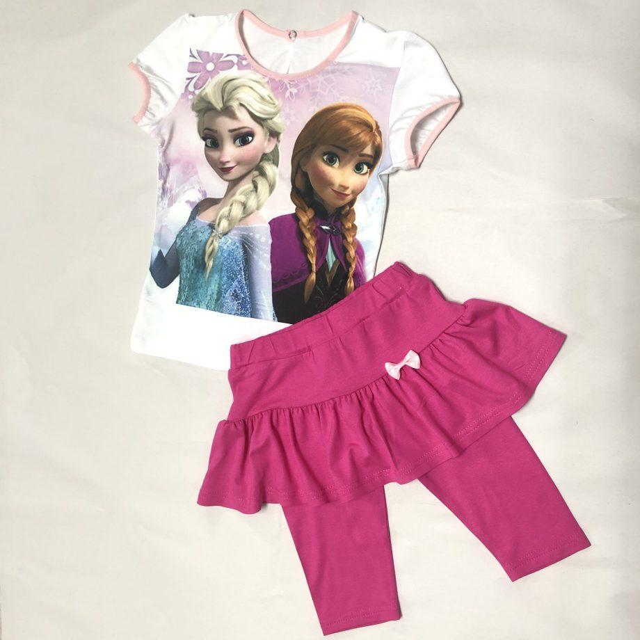 """Детска блуза с клин-пола """"Елза и Ана"""" къс ръкав"""