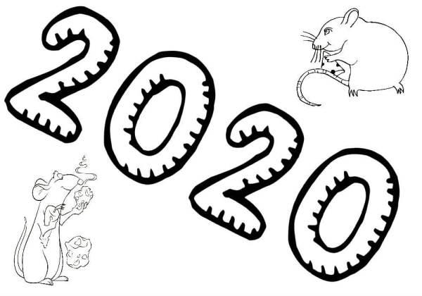 Раскраски на Новый год 2020 с Крысой распечатать или ...