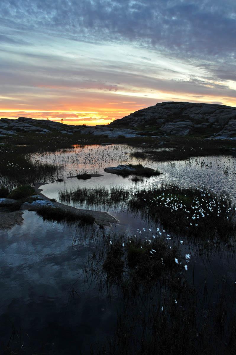 Solnedgang i naturen på Sotra