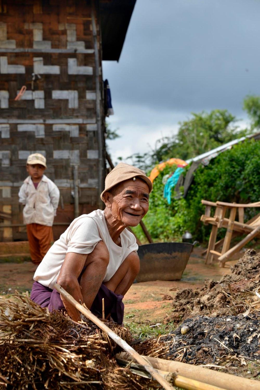 Landsbyboer i Shan State i Myanmar