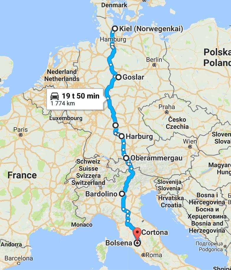 kart europa kjørerute Å kjøre bil til Italia – med en baby i baksetet   Reisebloggen Det  kart europa kjørerute