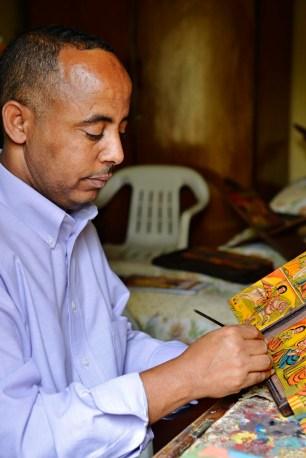 Kunstmaleren Gebre Merha i Etiopia