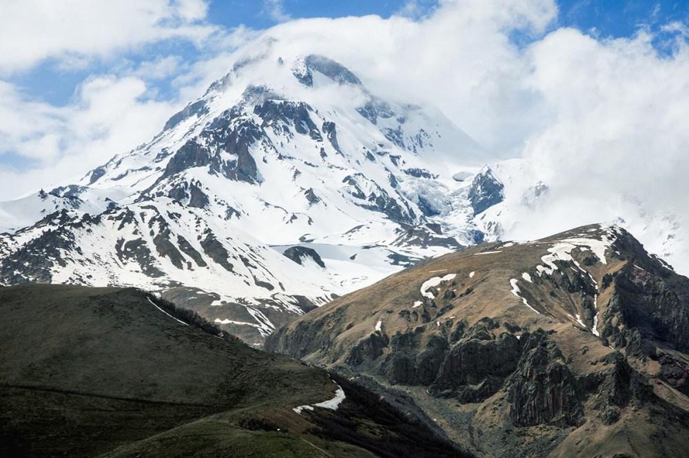 Mt Kazbek i Georgia sett fra sør