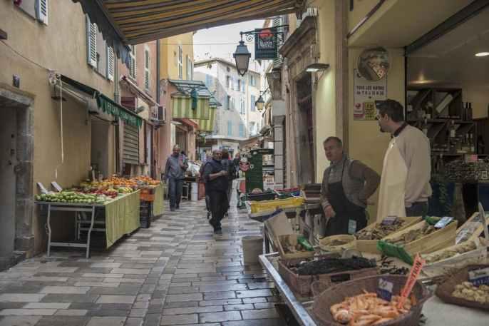 Butikker i Rue Massillon i Hyères i Provence