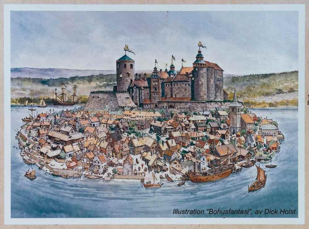 Illustrasjon av Kungälv på 1600-tallet
