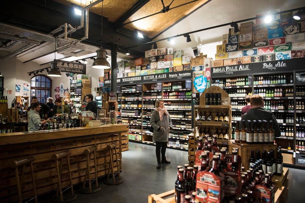 Ølbutikken i Ratsherrn-bryggeriet i Hamburg