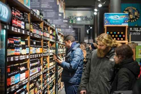 Mye å velge mellom i ølbutikken Ratsherrn i Hamburg