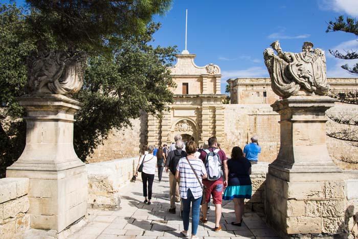 Hovedbyporten inn til Mdina på Malta
