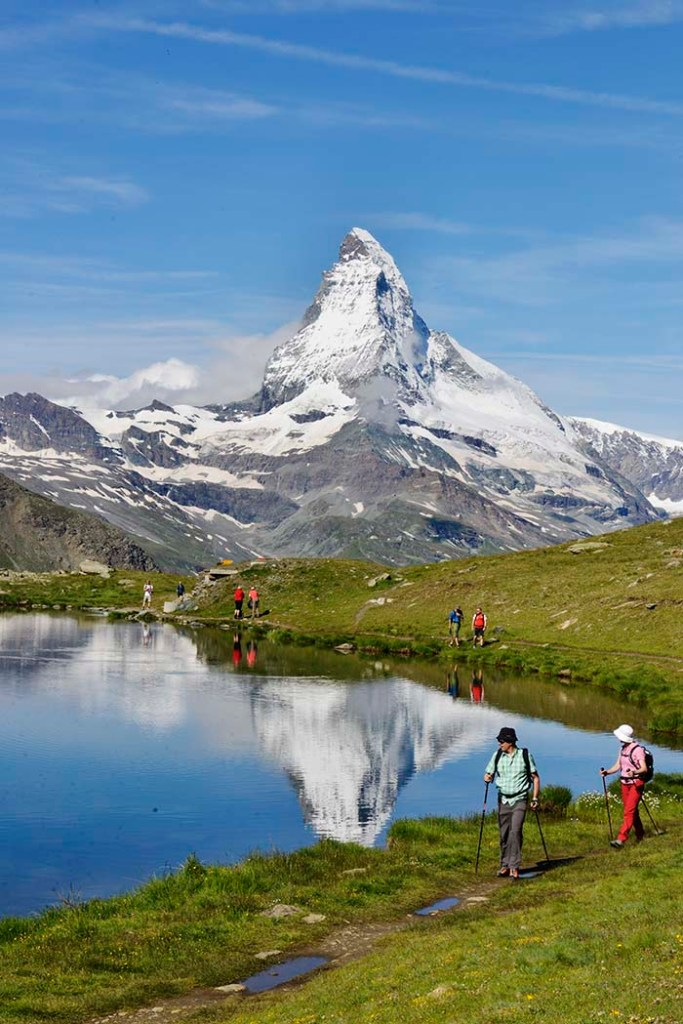Matterhorn sett fra fotturen 5-Seenweg  i Zermatt