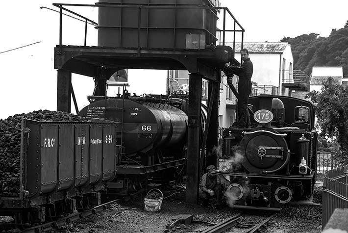 Vanntårn på Ffestiniog Railway i Wales